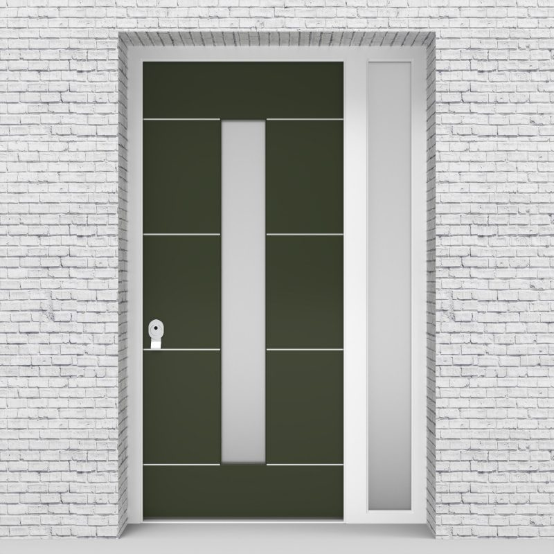 11.single Door With Right Side Panel 4 Aluminium Inlays With Central Glass Fir Green (ral6009)