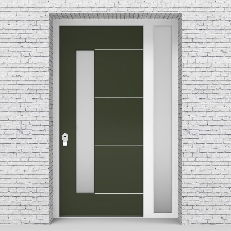 11.single Door With Right Side Panel 4 Aluminium Inlays With Lock Side Glass Fir Green (ral6009)