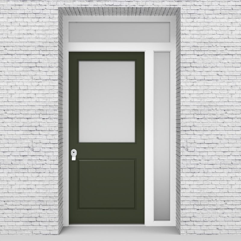 11.single Door With Right Side Panel And Transom 2 Panel With A Large Fir Green (ral6009)