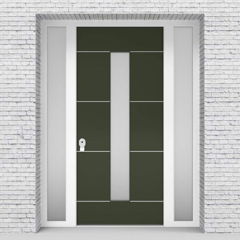 11.single Door With Two Side Panels 4 Aluminium Inlays With Central Glass Fir Green (ral6009)