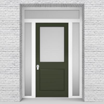 11.single Door With Two Side Panels And Transom 2 Panel With A Large Fir Green (ral6009)