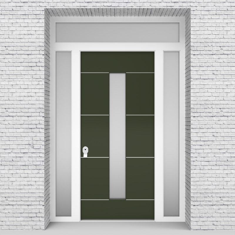 11.single Door With Two Side Panels And Transom 4 Aluminium Inlays With Central Glass Fir Green (ral6009)