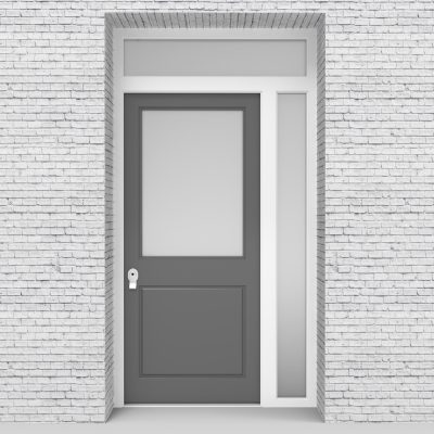 13.single Door With Right Side Panel And Transom 2 Panel With A Large Signal Grey (ral7004)