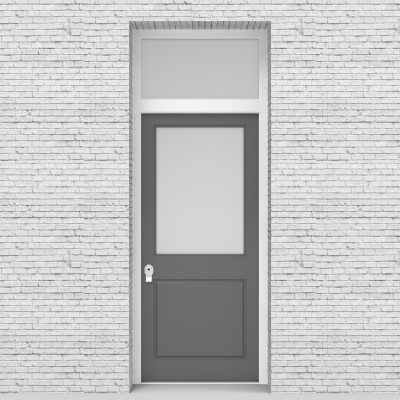 13.single Door With Transom 2 Panel With A Large Glass Pane Signal Grey (ral7004)