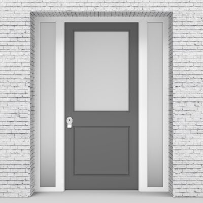 13.single Door With Two Side Panels 2 Panel With A Large Glass Panel Signal Grey (ral7004)