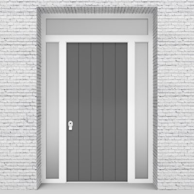 13.single Door With Two Side Panels And Transom 4 Vertical Lines Signal Grey (ral7004)