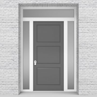 13.single Door With Two Side Panels And Transom Signal Grey (ral7004)
