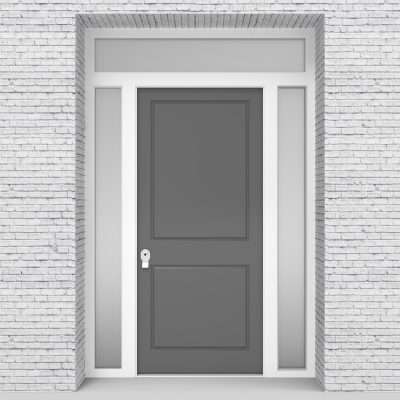 13.single Door With Two Side Panels And Transom Two Panel Signal Grey (ral7004)