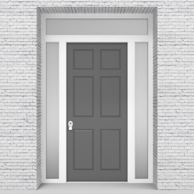 13.single Door With Two Side Panels And Transom Victorian 6 Panel Signal Grey (ral7004)
