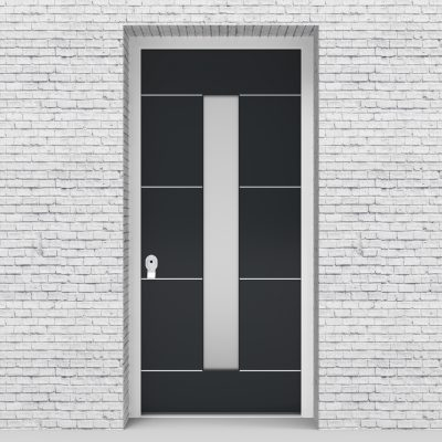 14.single Door 4 Aluminium Inlays With Central Glass Anthracite Grey (ral7016)
