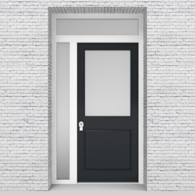 14.single Door With Left Side Panel And Transom 2 Panel With A Large Glass Anthracite Grey (ral7016)