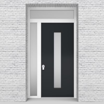 14.single Door With Left Side Panel And Transom Plain With Central Glass Anthracite Grey (ral7016)