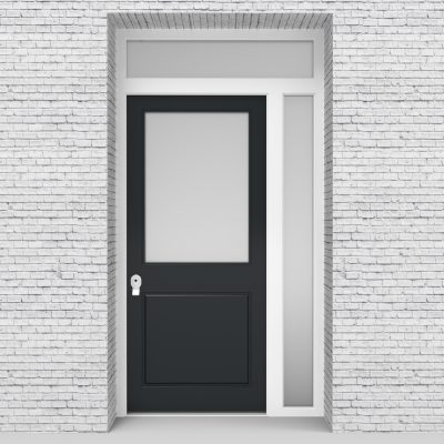 14.single Door With Right Side Panel And Transom 2 Panel With A Large Anthracite Grey (ral7016)