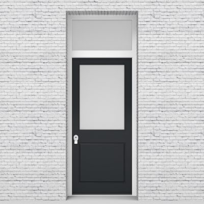 14.single Door With Transom 2 Panel With A Large Glass Pane Anthracite Grey (ral7016)