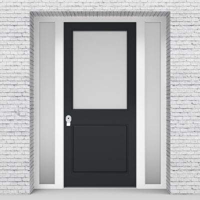 14.single Door With Two Side Panels 2 Panel With A Large Glass Panel Anthracite Grey (ral7016)