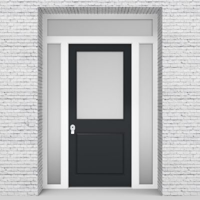 14.single Door With Two Side Panels And Transom 2 Panel With A Large Anthracite Grey (ral7016)