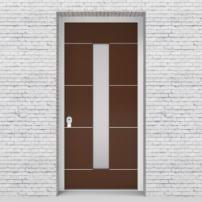 15.single Door 4 Aluminium Inlays With Central Glass Clay Brown (ral8003)