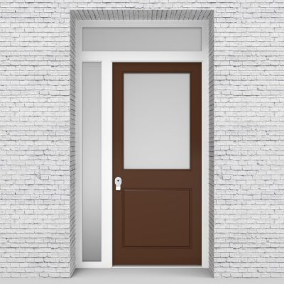 15.single Door With Left Side Panel And Transom 2 Panel With A Large Glass Clay Brown (ral8003)