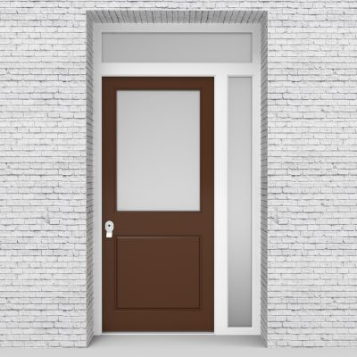 15.single Door With Right Side Panel And Transom 2 Panel With A Large Clay Brown (ral8003)