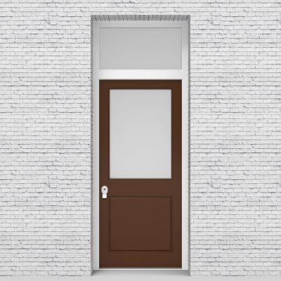 15.single Door With Transom 2 Panel With A Large Glass Pane Clay Brown (ral8003)
