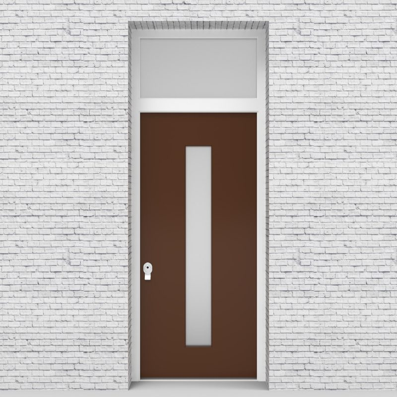 15.single Door With Transom Plain With Central Glass Clay Brown (ral8003)
