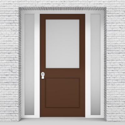 15.single Door With Two Side Panels 2 Panel With A Large Glass Panel Clay Brown (ral8003)