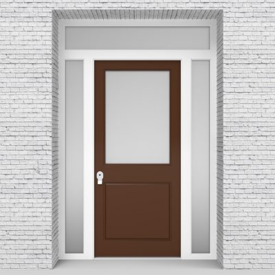 15.single Door With Two Side Panels And Transom 2 Panel With A Large Clay Brown (ral8003)