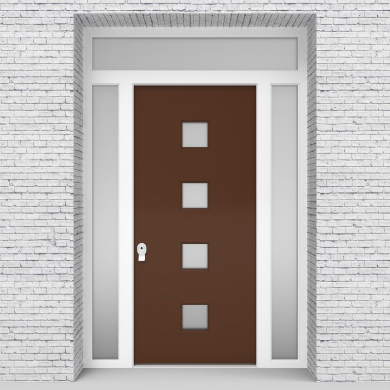 15.single Door With Two Side Panels And Transom Plain With 4 Glass Squares Clay Brown (ral8003)