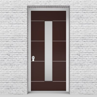 16.single Door 4 Aluminium Inlays With Central Glass Chocolate Brown (ral8017)