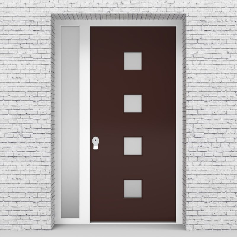 16.single Door With Left Side Panel Plain With 4 Glass Squares Chocolate Brown (ral8017)
