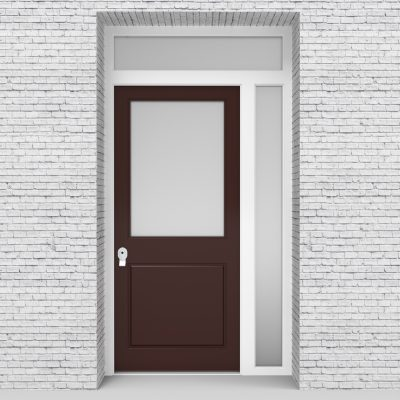 16.single Door With Right Side Panel And Transom 2 Panel With A Large Chocolate Brown (ral8017)