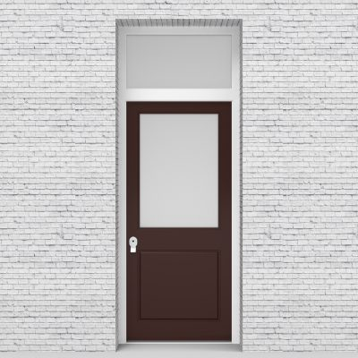 16.single Door With Transom 2 Panel With A Large Glass Pane Chocolate Brown (ral8017)