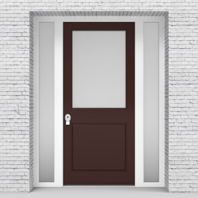 16.single Door With Two Side Panels 2 Panel With A Large Glass Panel Chocolate Brown (ral8017)