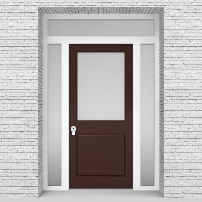 16.single Door With Two Side Panels And Transom 2 Panel With A Large Chocolate Brown (ral8017)