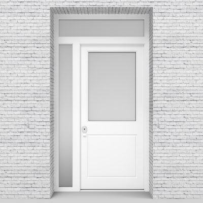 5.single Door With Left Side Panel And Transom 2 Panel With A Large Glass Traffic White (ral9016)