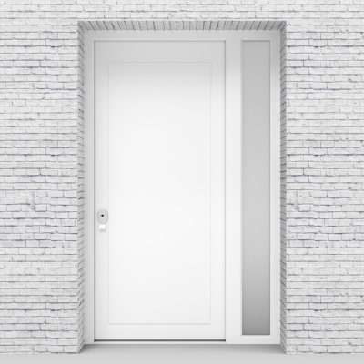 5.single Door With Right Side Panel Plain With Lock Side Glass Traffic White (ral9016)