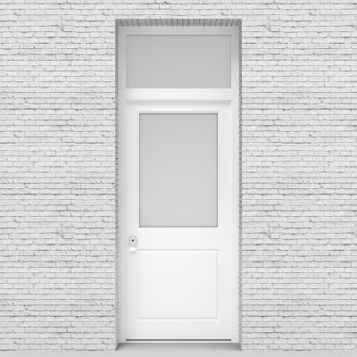 5.single Door With Transom 2 Panel With A Large Glass Pane Traffic White (ral9016)
