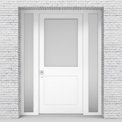 5.single Door With Two Side Panels 2 Panel With A Large Glass Panel Traffic White (ral9016)