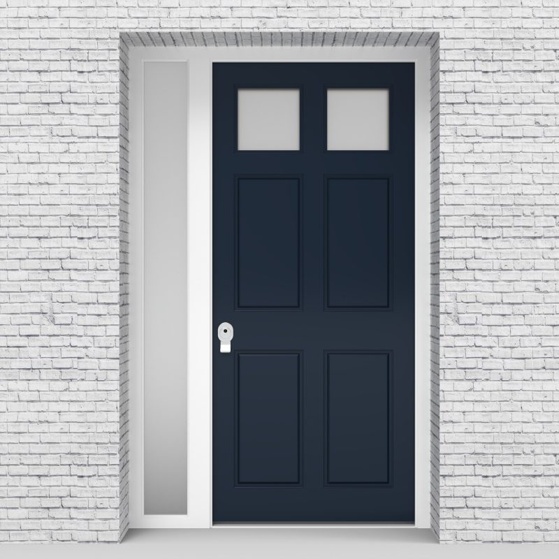 9.single Door With Left Side Panel Victorian 6 Panel With 2 Glass Panes Sapphire Blue (ral5003)