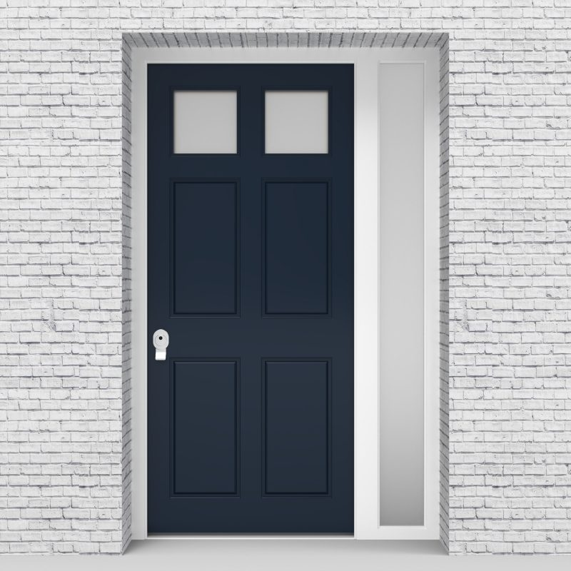 9.single Door With Right Side Panel Victorian 6 Panel With 2 Glass Panes Sapphire Blue (ral5003)