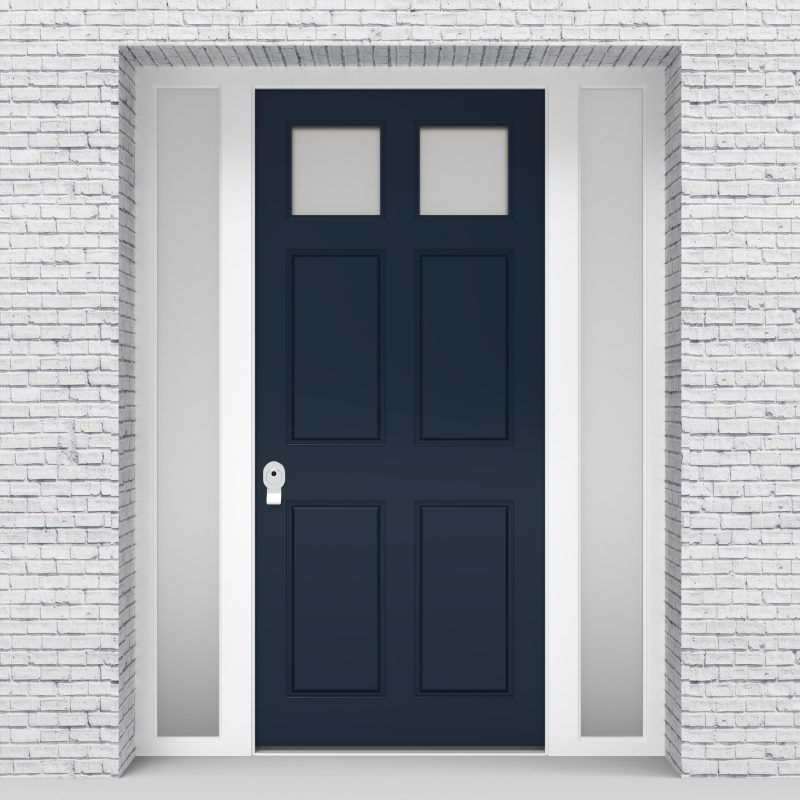 9.single Door With Side Panels Victorian 6 Panel With 2 Glass Panes Sapphire Blue (ral5003)