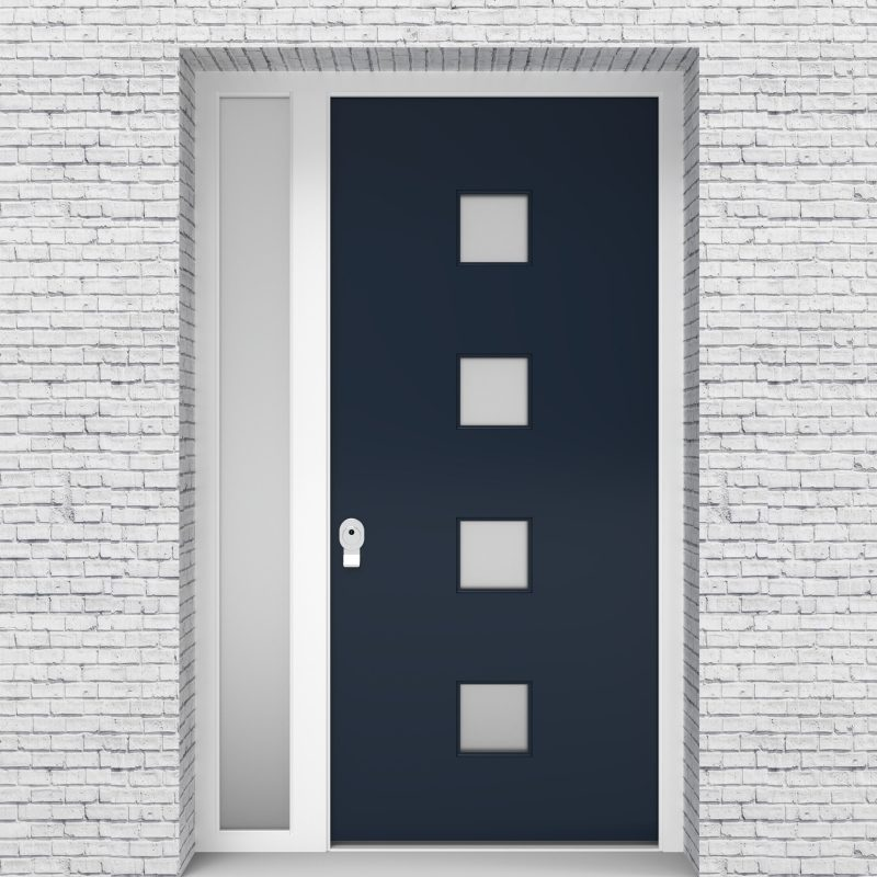 9.single Door With Left Side Panel Plain With 4 Glass Squares Sapphire Blue (ral5003)