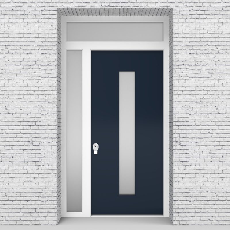 9.single Door With Left Side Panel And Transom Plain With Central Glass Sapphire Blue (ral5003)