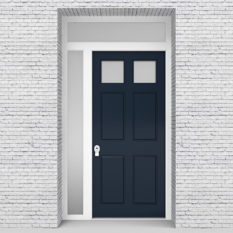 9.single Door With Left Side Panel And Transom Victorian 6 Panel With 2 Glass Panes Sapphire Blue (ral5003)