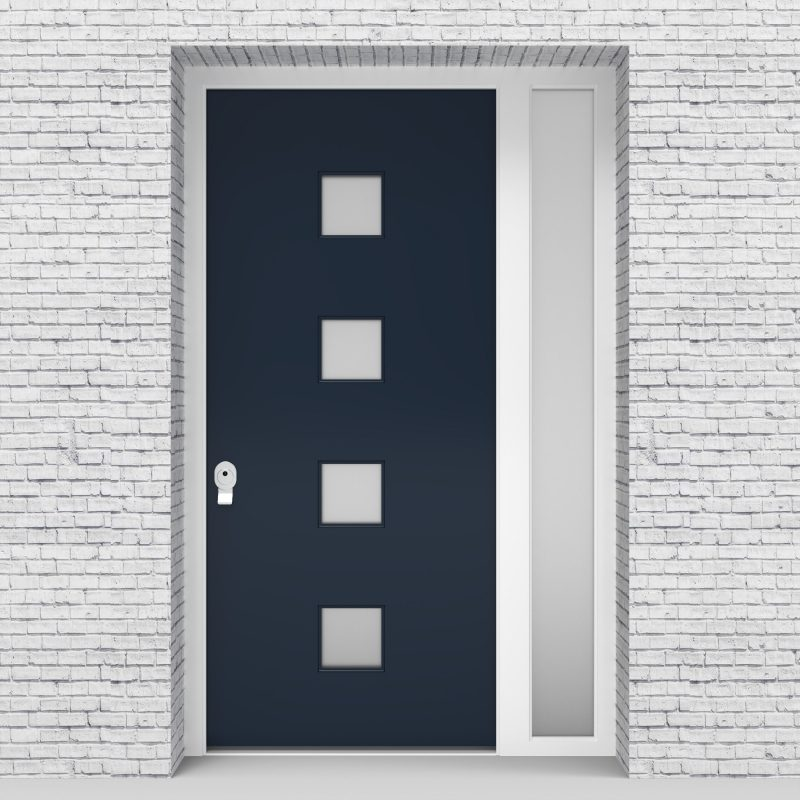 9.single Door With Right Side Panel Plain With 4 Glass Squares Sapphire Blue (ral5003)