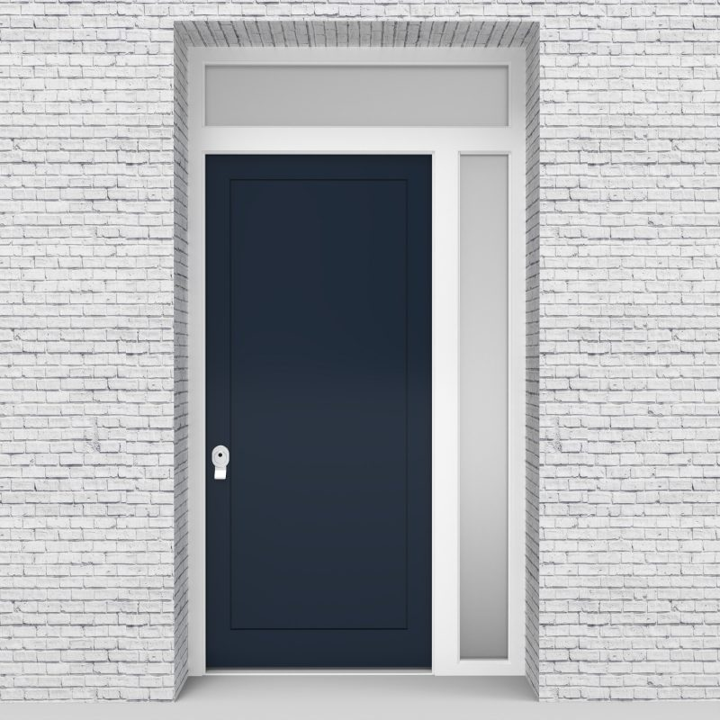 9.single Door With Right Side Panel And Transom One Panel Sapphire Blue (ral5003)