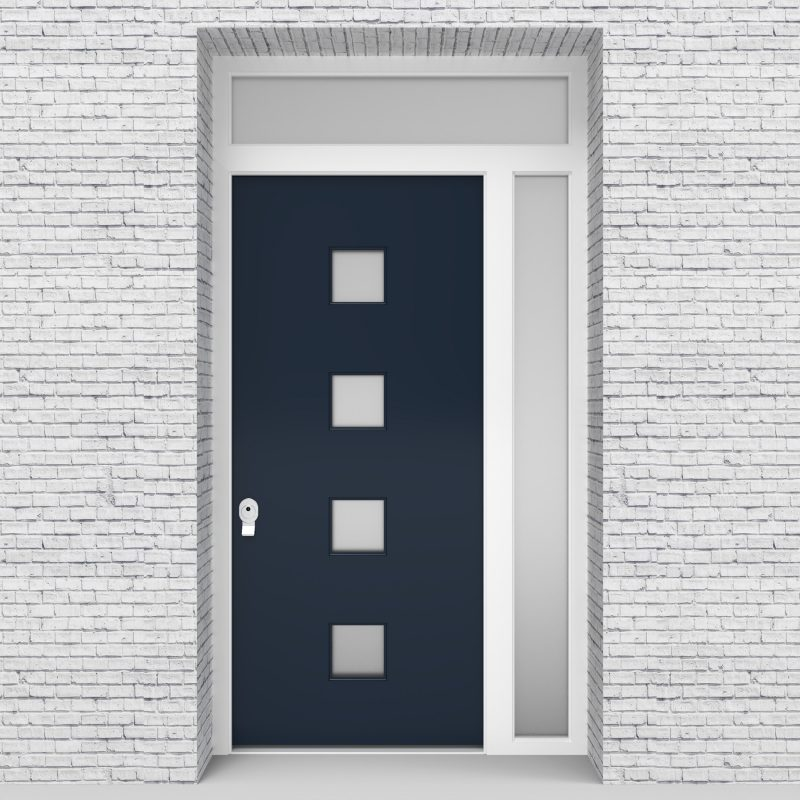 9.single Door With Right Side Panel And Transom Plain With 4 Glass Squares Sapphire Blue (ral5003)