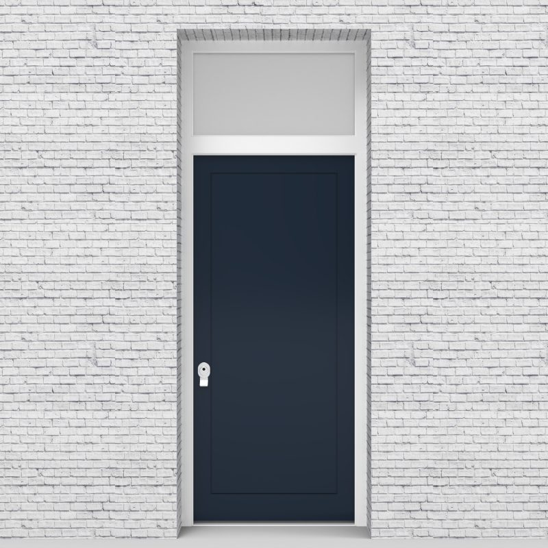 9.single Door With Transom One Panel Sapphire Blue (ral5003)