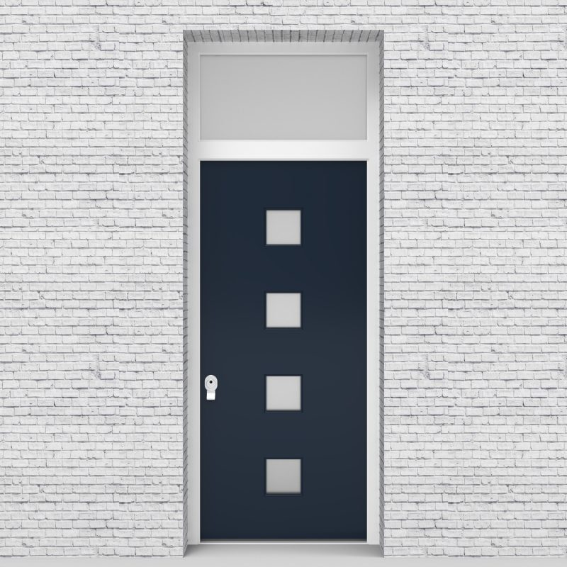 9.single Door With Transom Plain With 4 Glass Squares Sapphire Blue (ral5003)