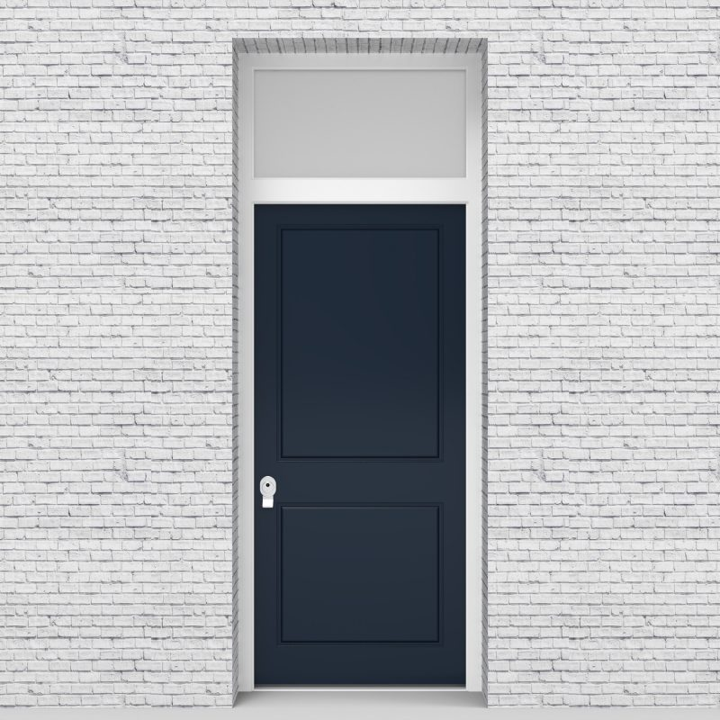 9.single Door With Transom Two Panel Sapphire Blue (ral5003)
